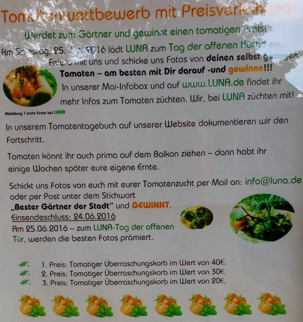 Auf diesem Werbeplakat für ein Tomatenzuchtgewinnspiel sind paarige Gedankenstriche fehlerhaft und inkosistent verwendet. Eine Korrektur oder ein Lektorat wären gut.